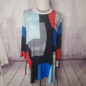 NEW ALFANI PLUS SIZE 3X COLORBLOCK TOP BLOUSE